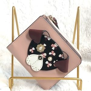 NWT! Kate Spade Small L-Zip Floral Pup Dog Bifold